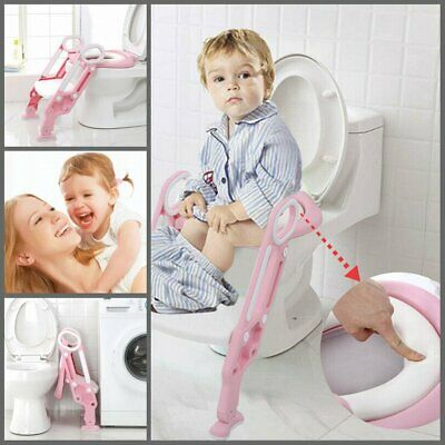 Toddler Toilet Potty Training Seat Child Chair Toddler Ladder Step Up Stool Pink