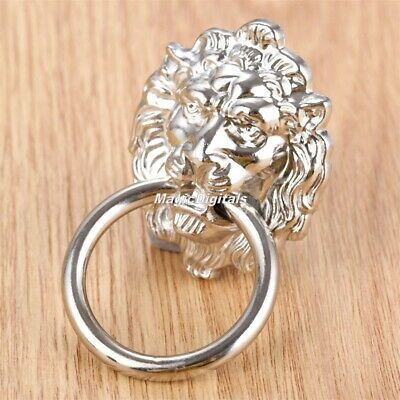 Retro Silver Lion Head Cupboard Cabinet Dresser Door Drawer Handles Pulls Knobs
