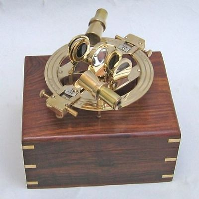 """8"""" Brass Sextant Round In Wooden Box ~ Nautical ~ Maritime Decor ~ Pirate"""