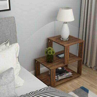 23.6Lx15.7Wx24.8H'' Functional Side Table Simple Rustic 3-Tier Home Coffee Table