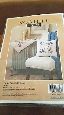 """Nob Hill Purple Tulips Embroidery Table Runner Kit  14 293       16"""" x 36"""""""