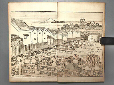 HOKUSAI DOCHU GAFU Meiji era Antique Japanese woodblock print book manga ehon