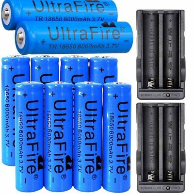 10pcs Rechargeable 6000mAh Li-ion 18650 3.7V Battery +2X Charger For Flashlight
