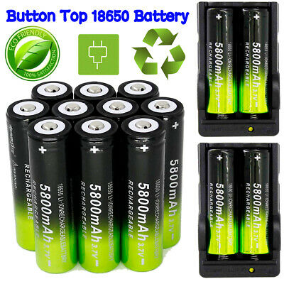 5800mAh Powerful 10Pcs 18650 Battery 3.7v Li-ion Rechargeable Battery + Charger