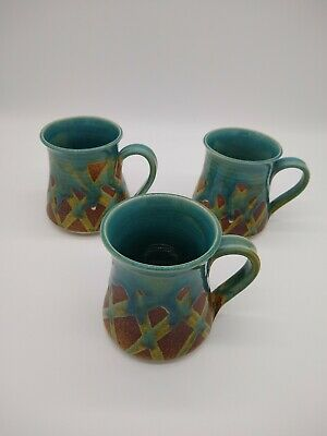 Vintage Australian Studio Pottery Mugs GORGEOUS glaze with earthy X design LOT 3