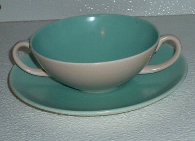 """Poole Pottery Cream Soup Bowl and Saucer Vtg England Blue Green Twin Tone 5"""""""