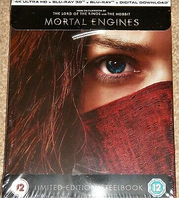 Mortal Engines 4K UHD+3D+2D Limited Edition Steelbook / WORLDWIDE SHIPPING