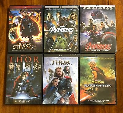Thor Trilogy, Avengers, and Dr. Strange 6-DVD Bundle Pack All Brand New