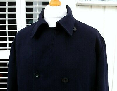 Fred Perry Navy Double Breasted Wool Peacoat - XL - Ska Mod Scooter Casuals Rare