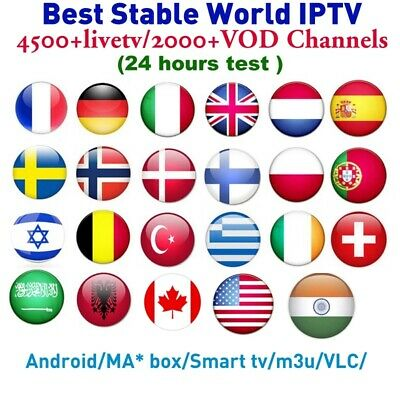 4500+Live 1 Year Best Stable World IPTV,VOD Subscription HD Europe Arabic Canada