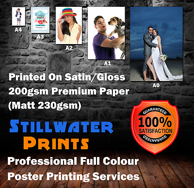POSTER PRINTING Gloss, Satin or Matt Finish Print A4 A3 A2 A1 A0 - FREE DELIVERY