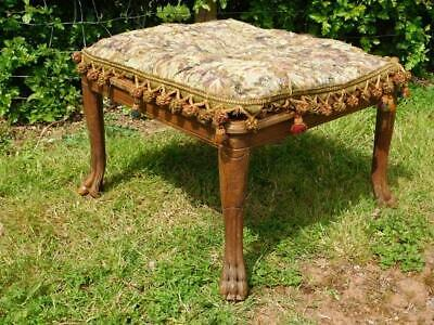 A Good Large Antique Footstool Stool With Cushion