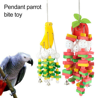 Parrot Bird Toy Perch Cockatiel Masticare Hanging Swing Wooden Cage