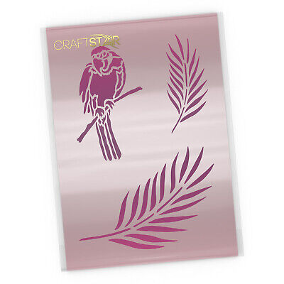 Parrot and Palm Leaves Stencil Set - Tropical Bird and Foliage Template