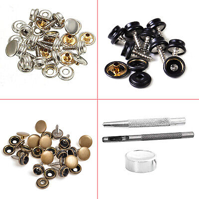 10pcs 15mm Screw Press Studs with Hand Fixing Tool for Boat Cover Leather Jacket