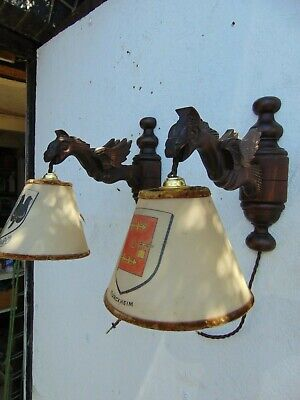 Pair Antique French Wood Carved Gothic Gargoyle Griffin Wall Sconce Lights
