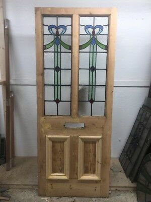 Victorian Stained Glass Front Door Period Old Reclaimed Antique Lead Pine Wooden