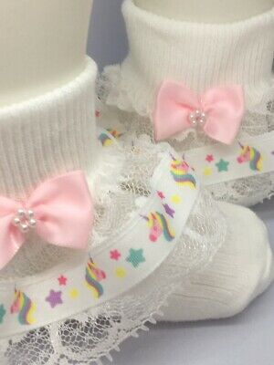 Handmade unicorn & lace frilly socks baby/girls