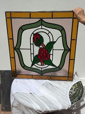 English Rose Stained Glass Front Door Window Feature Panel Leaded Art Nouveau.