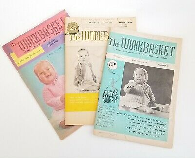 Workbasket and Home Art Magazine, Baby outer sweaters Feb 51, March 60, Oct 64