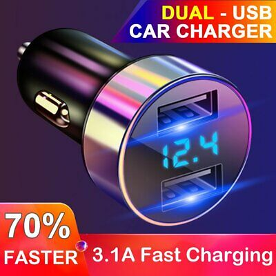 3.1A Fast Charging 2 Dual USB Car Charger for iPhone 12V 24V Adapter Phone HUB X