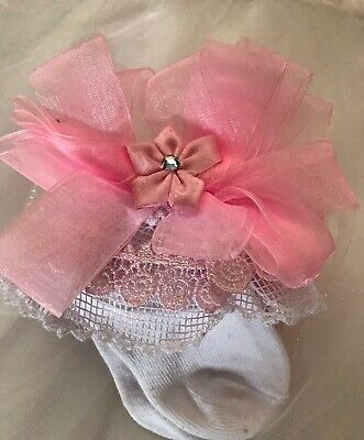 Hand Made Frilly Organza Pink Petal And White Socks For 3/6 Months