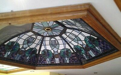Very Large Stained Glass Roof Light Dome Window Leaded Solid Oak Custom Rare.