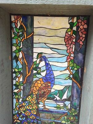 Rare Tiffany Stained Glass Window Period Leaded Antique Wooden Old Reclaimed