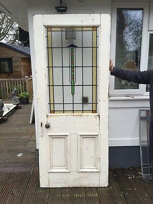 Large Victorian Edwardian Stained Glass Front Door Period Old Reclaimed Leaded.