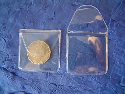 100 x 1.5 INCH COIN WALLETS SIXPENCE SHILLING 20p HOLDER POCKET STORAGE DISPLAY