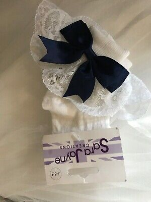 NAVY BLUE And White FRILLY LACE SOCKS WITH BOW SIZE 3 To 5 1/2 From Sarah Jayne