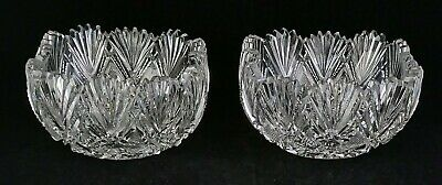 2 Dorflinger Parisian Ruffled Ind. Salad Bowls American Brilliant Cut Glass ABP