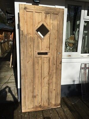 LARGE 1930s FRONT DOOR ART DECO WOODEN RECLAIMED PERIOD EXTERNAL ANTIQUE PINE