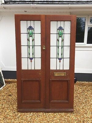 Edwardian Stained Glass Front Doors Reclaimed Antique Period Old Leaded Art Deco