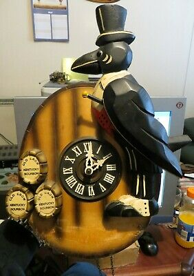 Rare unusual advertising clock Old Crow Kentucky Bourbon, mechanical cuckoo type