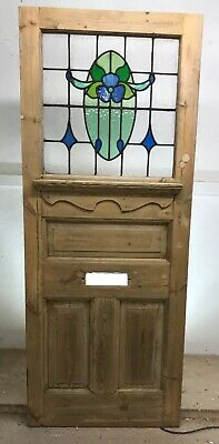 20s 30s ART DECO FRONT DOOR RECLAIMED WOOD LEADED STAINED GLASS PERIOD OLD PINE