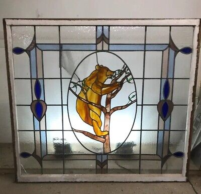 V Large Stained Glass Window Panel Architectural Antique Period Lead Old C1930