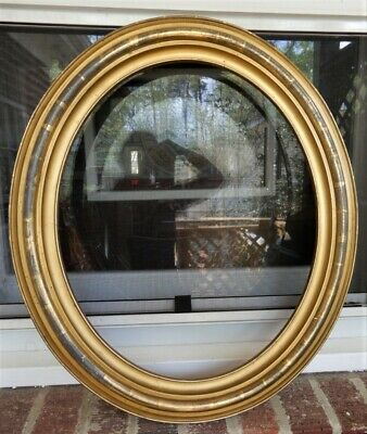 Antique VICTORIAN Oval LEMON GOLD Gilt Picture Frame 14 x 17 in. fit c1900s