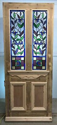 L Victorian Stained Glass Front Door Reclaimed Old Period Antique Lead Wood Pine