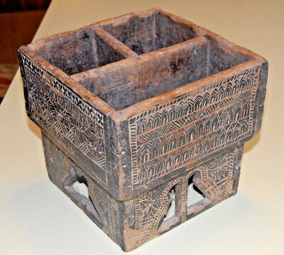 Betel Nut Server Box Hand Carved Made Wood Thailand Antique Circa 19th Century 1