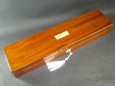 "Antique 17.5"" x 4.5"" Mahogany Desk Top Box Working Lock & Key 1870 MOP Center"