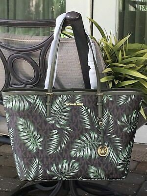 108d44239a72 Michael Kors Jet Set Travel Large Carryall Tote Mk Palm Tree Brown Olive  $348