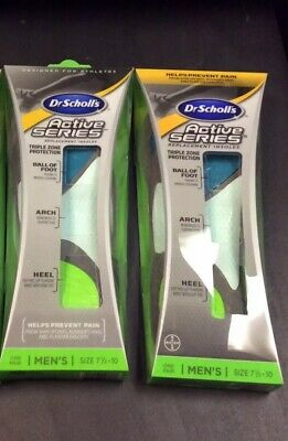 (2 Pack) DR.SCHOLL'S ACTIVE SERIES REPLACEMENT INSOLES FOR MEN.Size: 7 1/2-10.