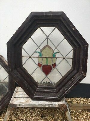 XL ART DECO PORTHOLE STAINED GLASS WINDOW WOOD PERIOD OLD RECLAIMED LEAD 20s 30s
