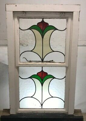 Victorian Stained Glass Window Metal Antique Period Leaded Old Nouveau Pine Wood
