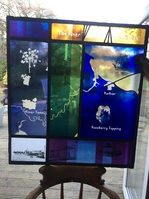 Unique Stained Glass Etched Painted Cut Panels River Tees Sea To Source Window