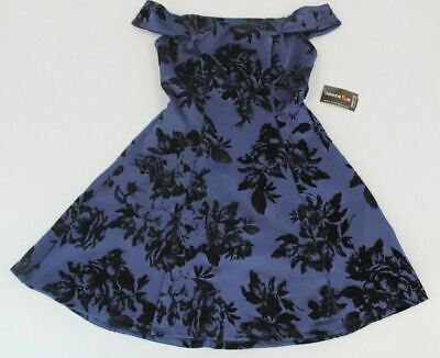 58e74b113 Teeze Me Juniors' Off The Shoulder Floral Flocked Dress CB4 Navy Size 3 NWT