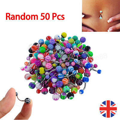 50PCs//set Belly Button Navel Ring Bar Bars Body Piercing Jewellery Rings Makeup