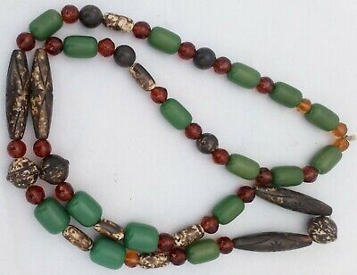 Vintage Art Deco Beads Necklace Green Faux Amber Mottled Carved Look Amber Glass