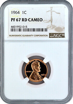 1964 1c  Proof Lincoln Cent NGC PF 67 RD Cameo